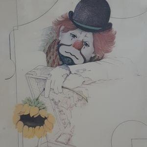 Vintage Clown Art Litho Wall Hanging